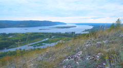Op view of the river, islands and mountains on the horizon. The movement of c Stock Footage