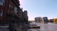 Milwaukee River - 3rd Ward - Milwaukee Wisconsin Stock Footage
