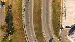 Urban road with the bird's flight. View From Copter Stock Footage