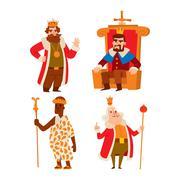 Kings cartoon vector set Stock Illustration