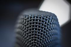 Microphone macro close up detail blue atmosphere Stock Photos