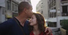 4K Portrait happy romantic couple standing on city street at sunset Stock Footage