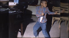 Cute Little Black Boy African American Dancing 60s Vintage Film Home Movie 10197 Stock Footage