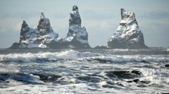 Slowmotion waves three Pinnacles Vik Reynisdrangar Stock Footage