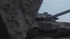 The tank is in the dirt. Dirty war machine Stock Footage