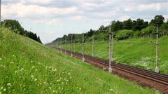 Fast passenger train timelapse Stock Footage