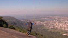 Paraglider take off flight Stock Footage