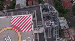 Aerial shot of a helipad with helicopter landing point of view Stock Footage