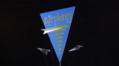 PAPER AIRPLANE DISPLAY Stock Footage