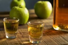 Alcoholic Apple Flavored Bourbon Whiskey Stock Photos