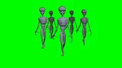 Group of aliens walking on a green screen Stock Footage