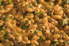 Homemade Hamburger Macaroni and Cheese Stock Photos