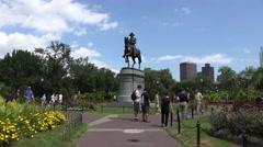 The George Washington Statue, Public Garden, Boston, MA. Stock Footage