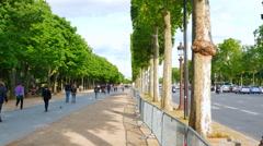 4K Champs Elysees Avenue, Median with Pedestrians and Vehicle Traffic Stock Footage