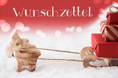 Reindeer With Sled, Red Background, Wunschzettel Means Wish List Stock Photos