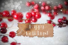 Burnt Label, Snow, Snowflakes, Text Happy Holidays Stock Photos