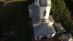 Aerial view of an orthodox church in the city situated between blocks Stock Footage
