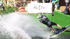 Wakeboarder doing a somersault in the rotation, slow motion Stock Footage