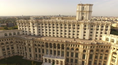 Aerial view over Romanian Parliament ex People's House at sunset Stock Footage