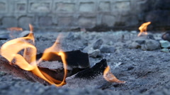 The flames of natural gas, a place of volcanic phenomena Stock Footage