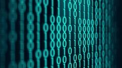 Vertical Computer Binary Code in Blue Digital Landscape Stock Footage