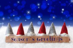 Gnomes, Blue Background, Bokeh, Stars, Text Seasons Greetings Stock Photos