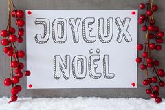 Label, Snow, Decoration, Joyeux Noel Means Merry Christmas Stock Photos