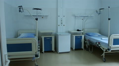 Hospital recovery patient room empty bed Stock Footage
