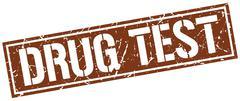 Drug test square grunge stamp Stock Illustration