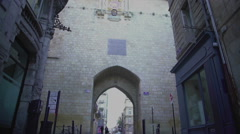 Medieval gateway, famous showplace Port Cailhau in Bordeaux, France. Tourism Stock Footage