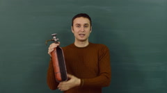 Presentation of the fire extinguisher during the safety briefing. Stock Footage