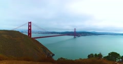 Dolly Shot of Golden Gate Bridge on Foggy Overcast Day Stock Footage