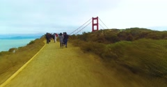Timelapse POV Walking to Golden Gate Bridge Overlook   Stock Footage