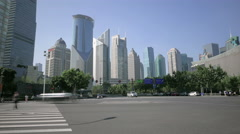 Shanghai business district junction traffic time lapse Stock Footage