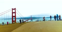 Time Lapse POV Walking to Golden Gate Bridge Overlook Stock Footage