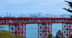 Traffic on Golden Gate Bridge with San Francisco Skyline in the Distance   Stock Footage