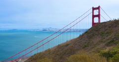 Golden Gate Bridge Behind Mountains on Foggy Overcast Day   Stock Footage
