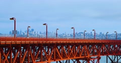 Traffic on Golden Gate Bridge with San Francisco in the Distance   Stock Footage