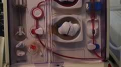 Artificial kidney (dialysis) medical device with rotating pumps. Stock Footage