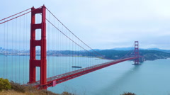 Timelapse View of Golden Gate Bridge on Foggy Overcast Day Stock Footage