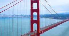 Day Establishing Shot Golden Gate Bridge on Foggy Overcast Day   Stock Footage