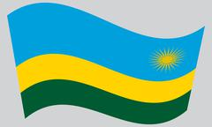 Flag of Rwanda waving on gray background Stock Illustration