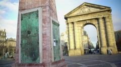 Winemaking monument and ancient arch at Place de la Victorie in Bordeaux, France Stock Footage