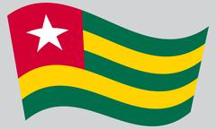 Flag of Togo waving on gray background Stock Illustration
