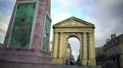 People walking at Place de la Victorie square in Bordeaux. French architecture Stock Footage