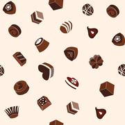 Pattern of assortment of chocolates and cookie Stock Illustration
