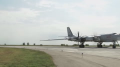 "Tu-95MS ""Bear"" aircraft on the runway Stock Footage"