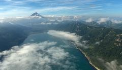 Avacha Bay and Vilyuchinsky stratovolcano. South Kamchatka Nature Park Stock Photos