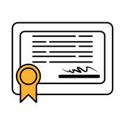 Diploma certificate graduation isolated icon Stock Illustration