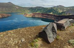 Lake in Caldera volcano Ksudach. South Kamchatka Nature Park Stock Photos